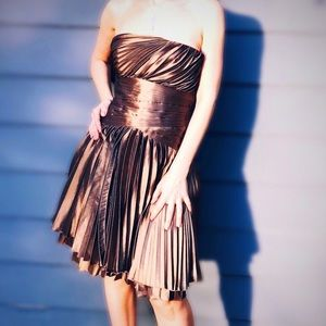 NWT-Halston Heritage Gold/Copper Party dress, S